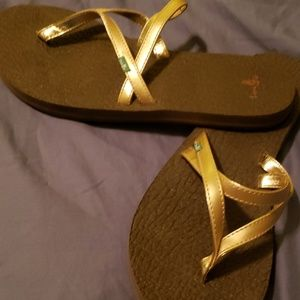 Sanuk Gold Sandals Sanuk Flip Flop Size7 Great